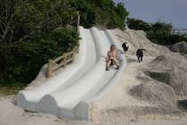 Cement slides built into a hill at an Okinawan park
