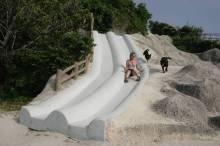 Cement slides built into a hill at an Okinawan park